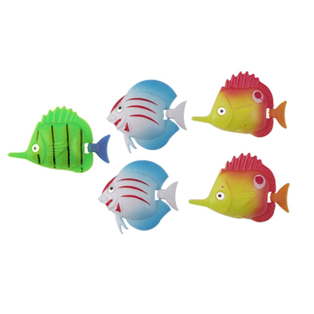 Aquarium Multi-colored Plastic Swimming Fish Ornament 5 Pcs