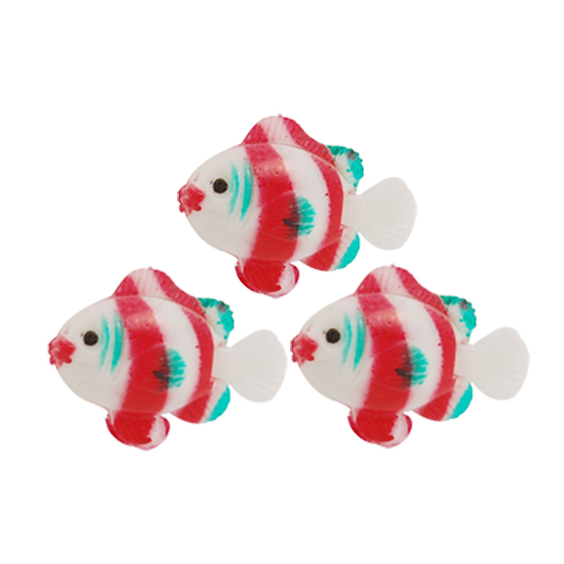 3 Pcs Red White Plastic Floating Tropical Fish Aquarium Ornament