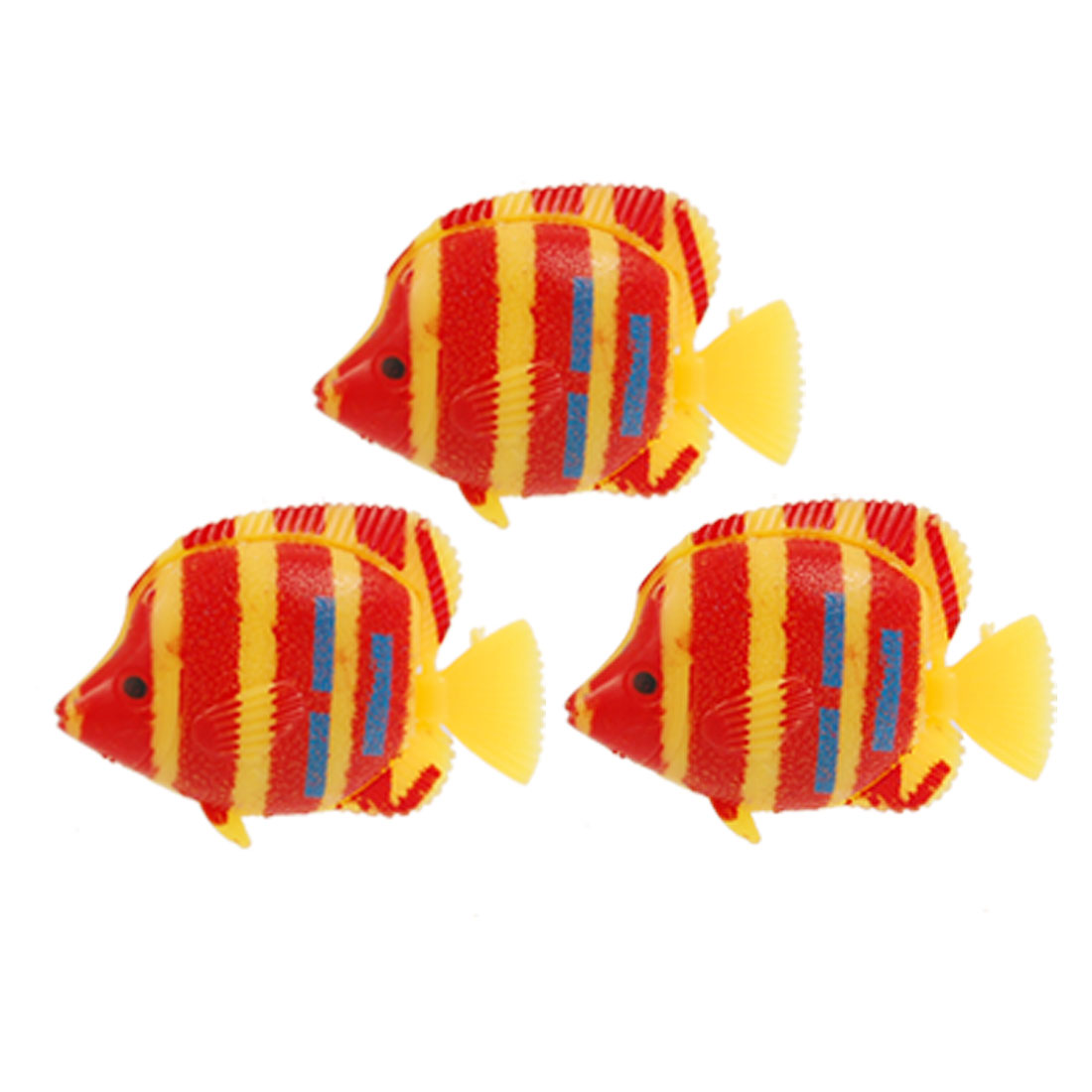 Manmade Orange Red Striped Tropical Fish Decor 3 Pcs for Aquarium