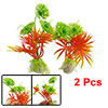 Aquarium Fish Tank 2 Pcs Green Orange Plastic Grass Ornament