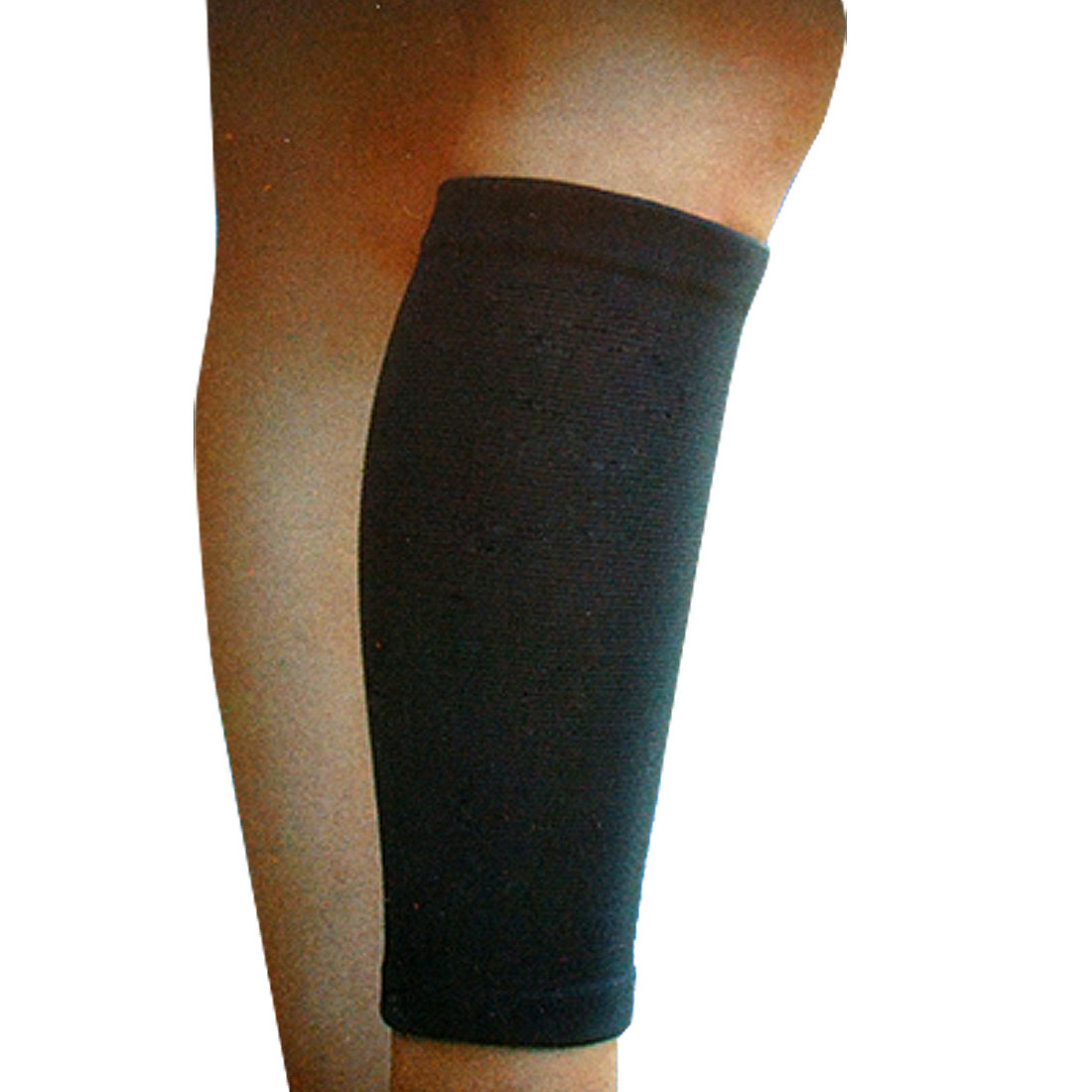 Running Cycling Elastic Fabric Calf Leg Sleeves Support Protector Black