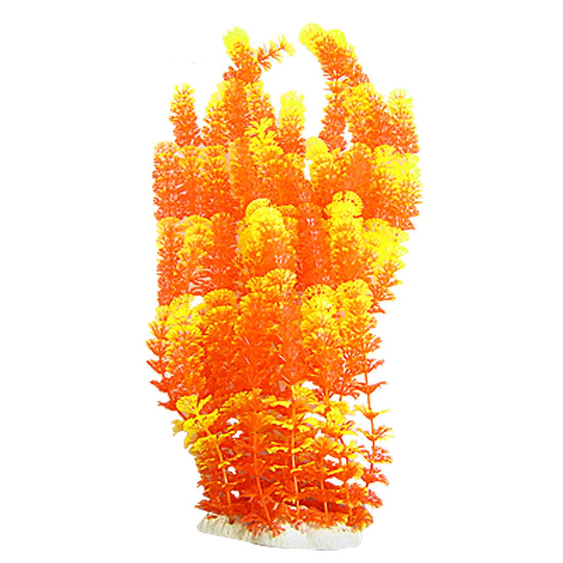 Aquarium Snowflake Shaped Leaf Long Plastic Plants Yellow Orange