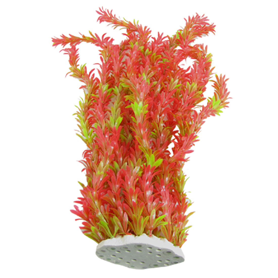 Aquarium Fish Tank Red Green Long Plastic Plants w Ceramic Base