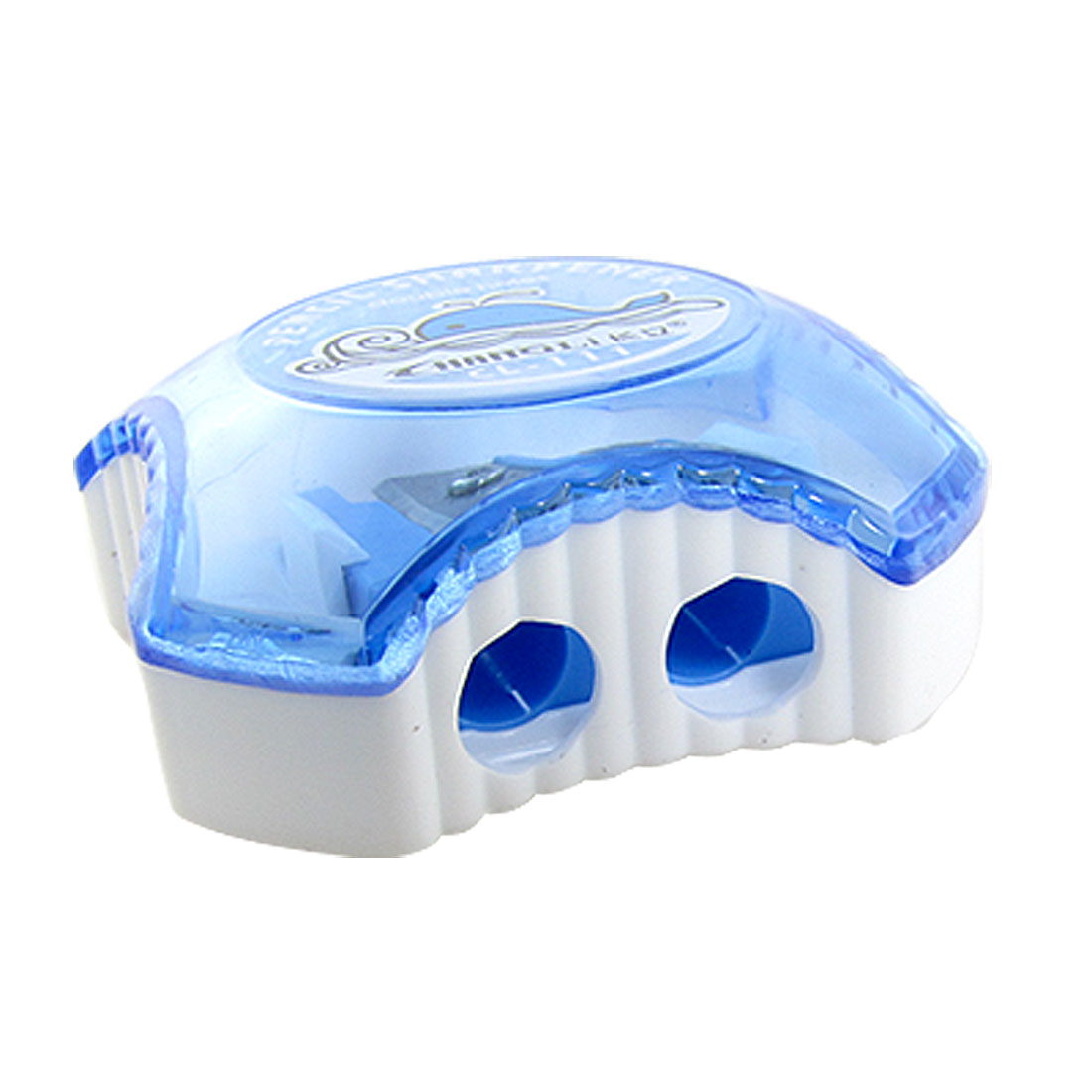 Blue White Double Holes Dolphin Pattern Pencil Sharpener 2 Pcs