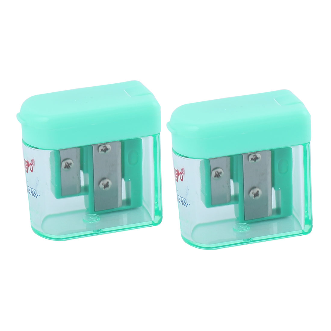2 Pcs Green Clear 8mm Diameter Office 2 Holes Hinged Cover Pencil Sharpener