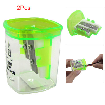 2 Pcs Green Clear Double Holes Pencil Sharpener for Exam Grade Pencil