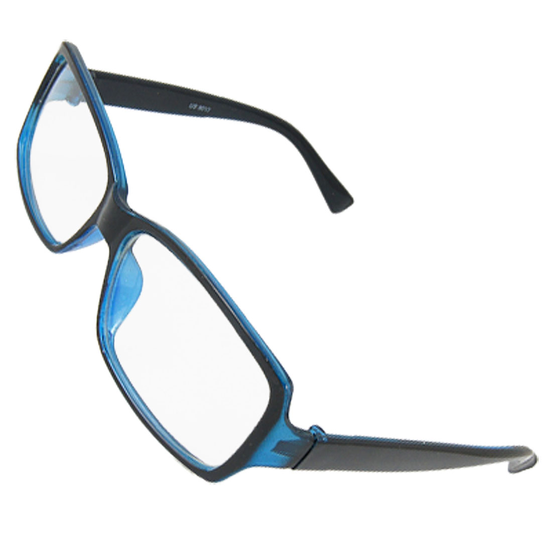 Black Blue Plastic Frame Rectangle Clear Lens Plain Glasses for Men Women