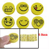 5 Boxes Yellow Cartoon Smiley Face Rubber Erasers Set