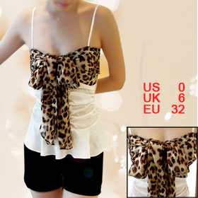 Ladies Leopard Prints Chiffon Bowknot White Slim Strap Tank Top XS