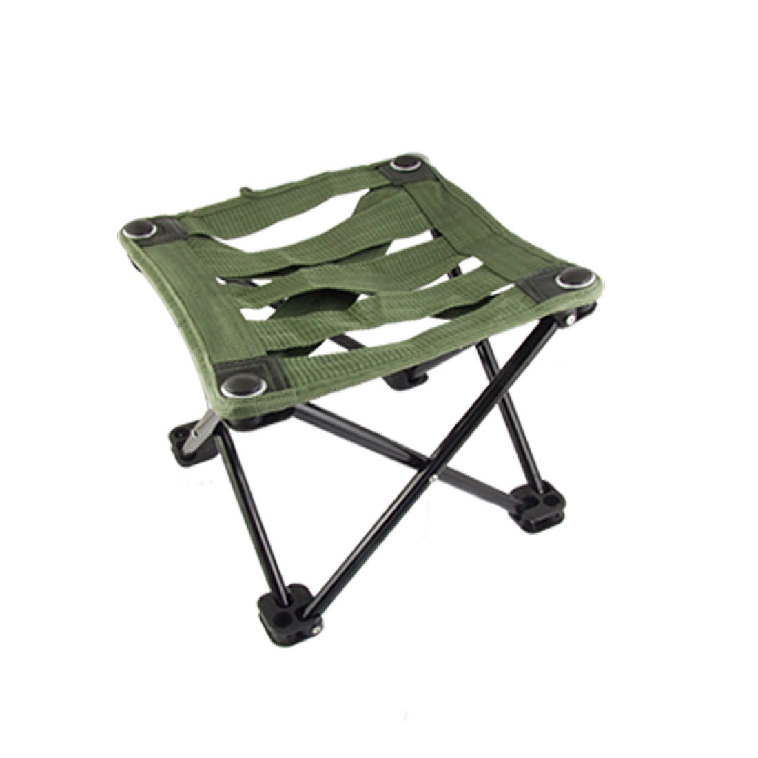 Portable Square Nylon Metal Foldable Stool Army Green