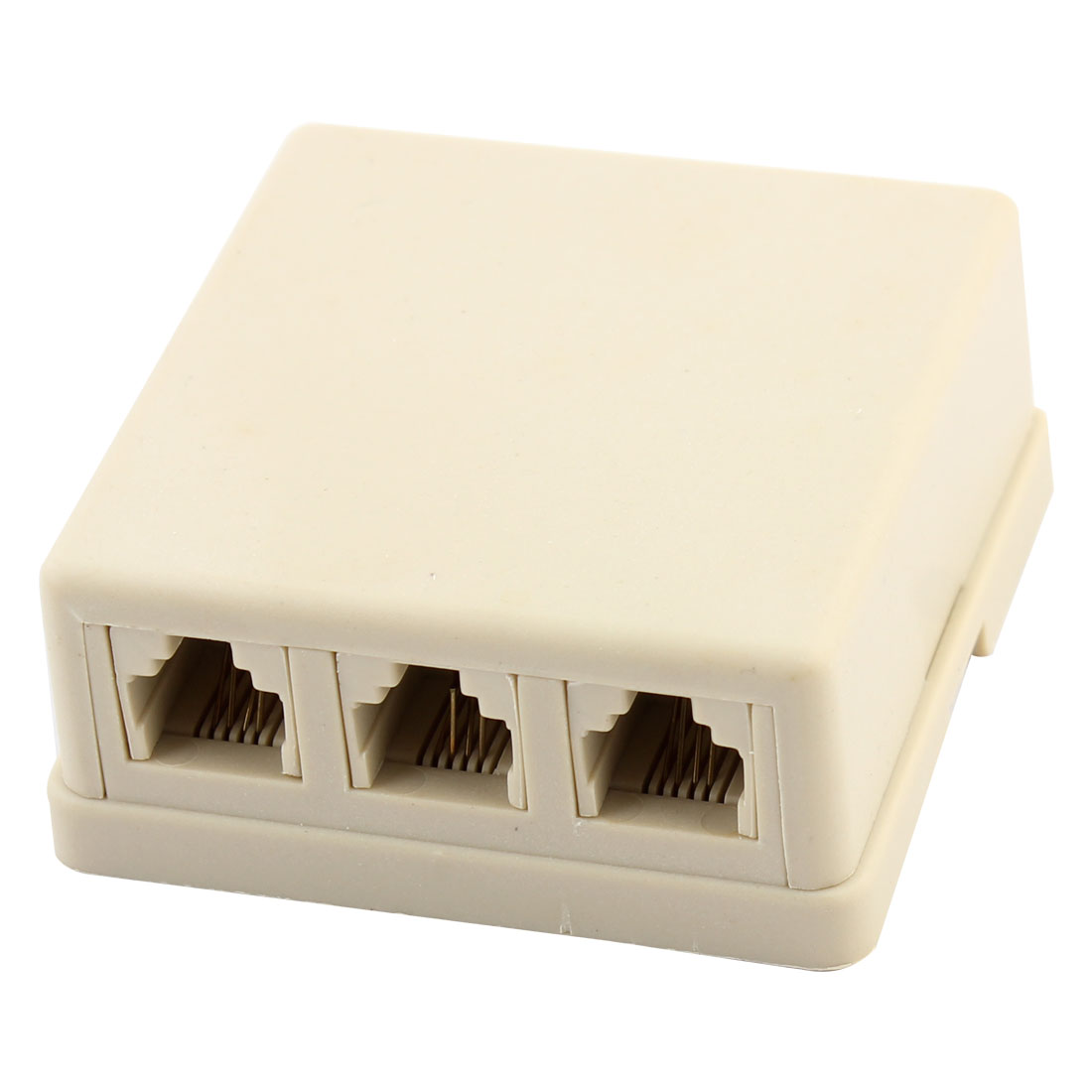 6P4C 1 to 3 RJ11 Female Socket Telephone Coupler Connector Beige