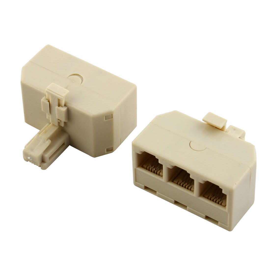 2 Pcs Male to 3 Female RJ11 3 Way Adapter Splitter for Telephone