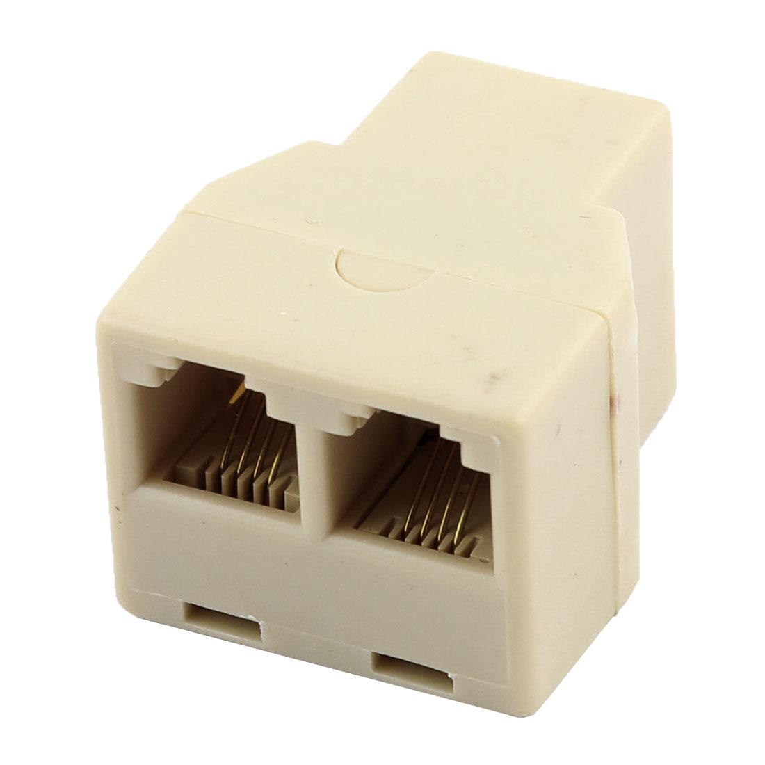 RJ11 F to F 3 Port Telephone Modular Splitter Joiner Beige