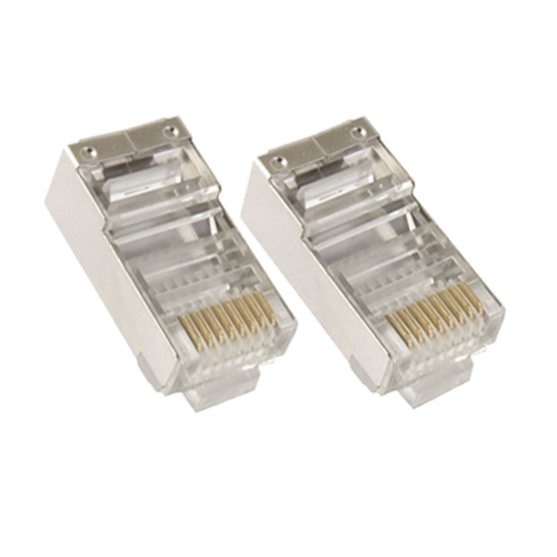 Plastic 2 Pcs Network Ethernet 8P8C 8 Pin RJ45 Shielded Connector Jacks