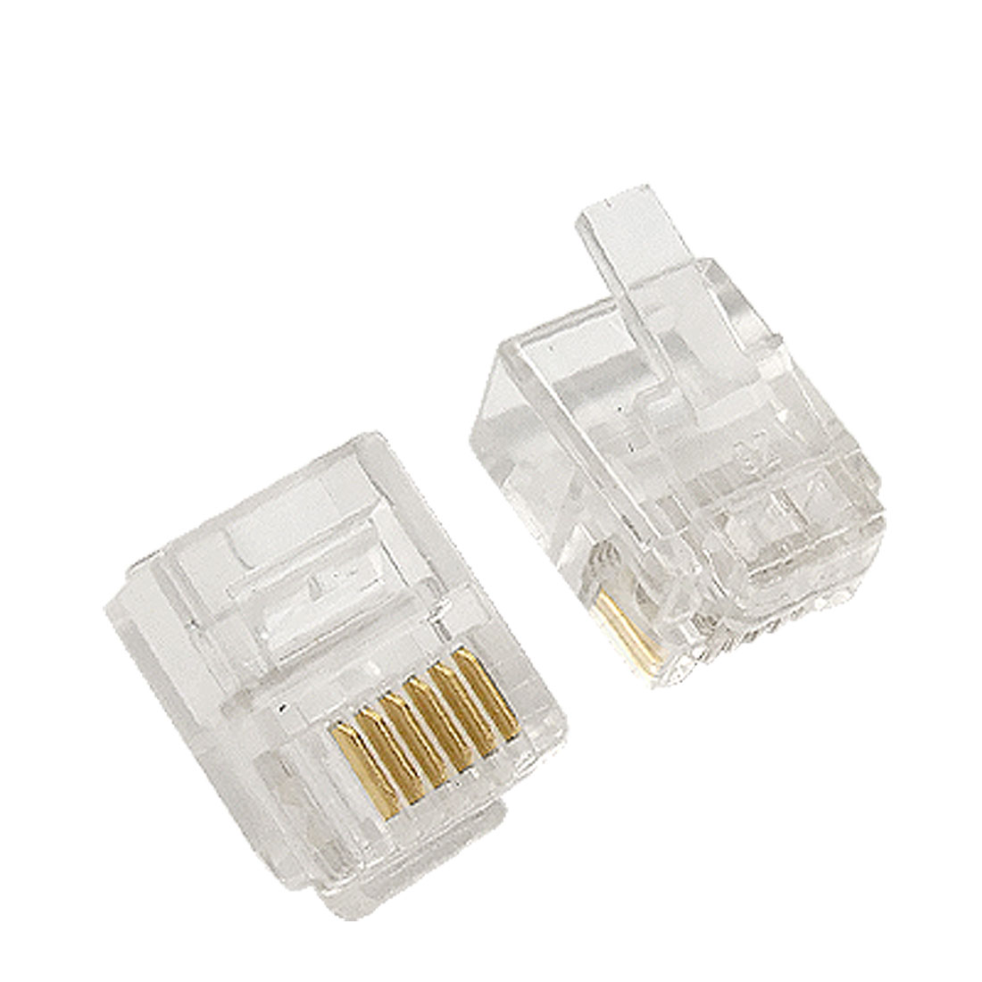 4 Pcs 6 Pin 6 Position RJ12 Plastic Connector for Phone