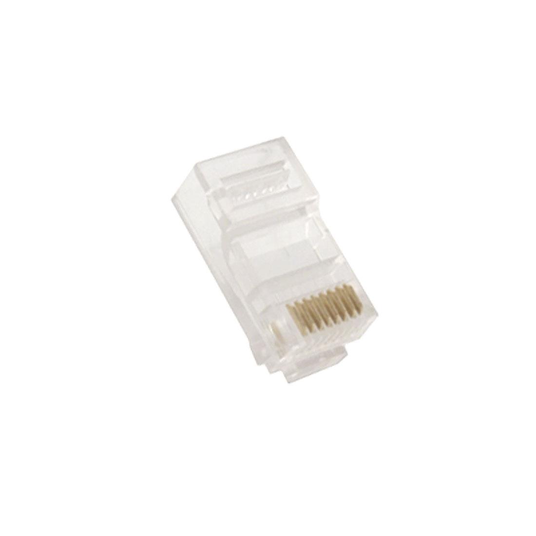 10 Pcs Network Ethernet CAT5e 8P8C 8 Pin RJ45 Connectors Jacks Clear