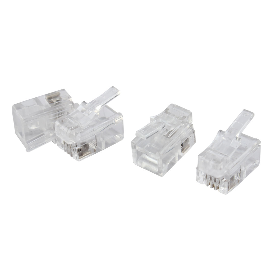 4 Pcs 4 Pin RJ10 4P4C Connector Clear for Handset Cable