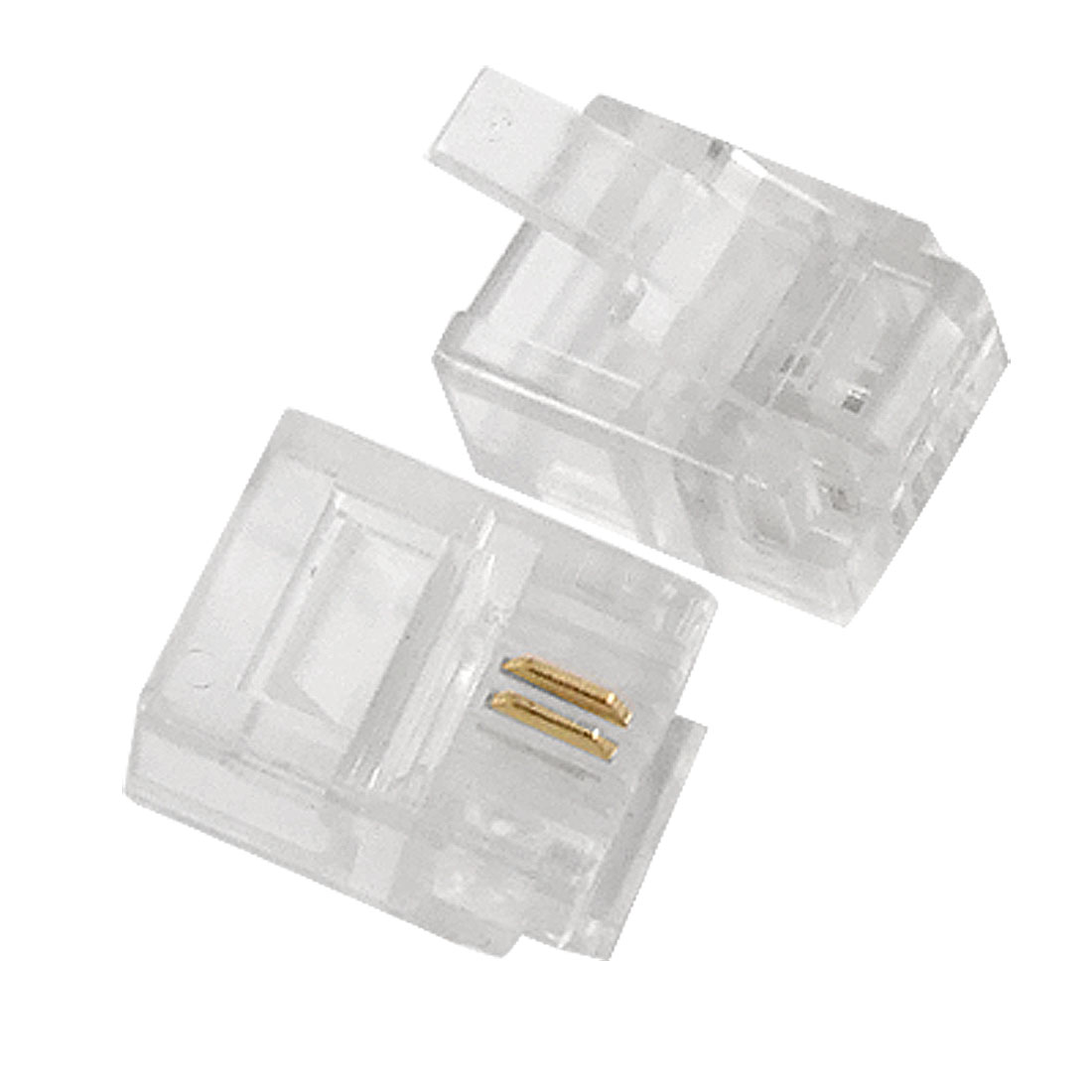 4 Pcs 6P2C 2 Pole RJ11 Modular Plug Telephone Connector Clear