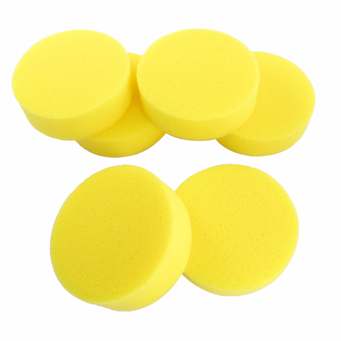Car Auto 6 Pcs Yellow Round Sponge Wax Applicator Pads