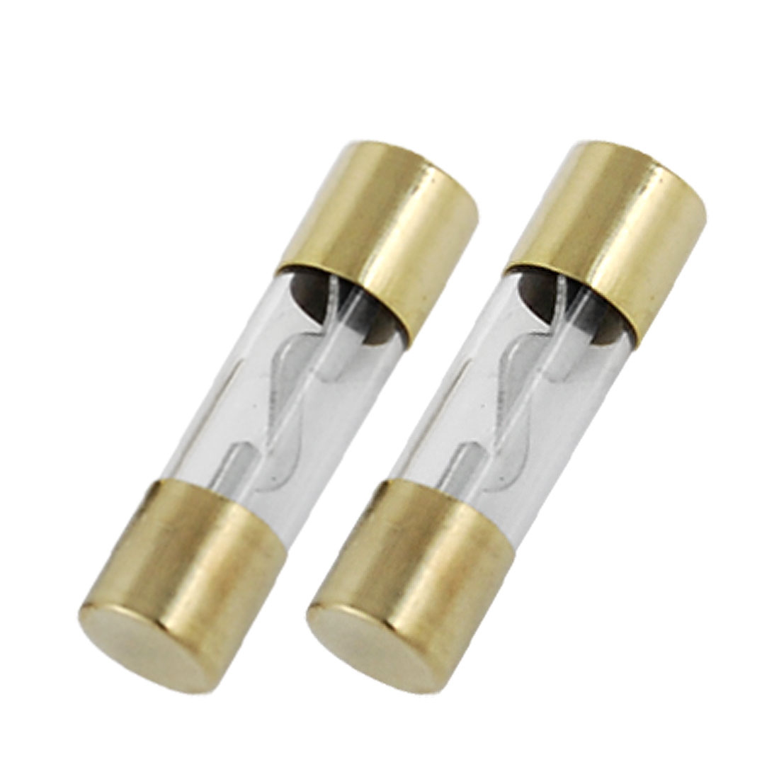 2 Pcs 60A Glass Tube Gold Tone Clear AGU Fuse for Car Audio
