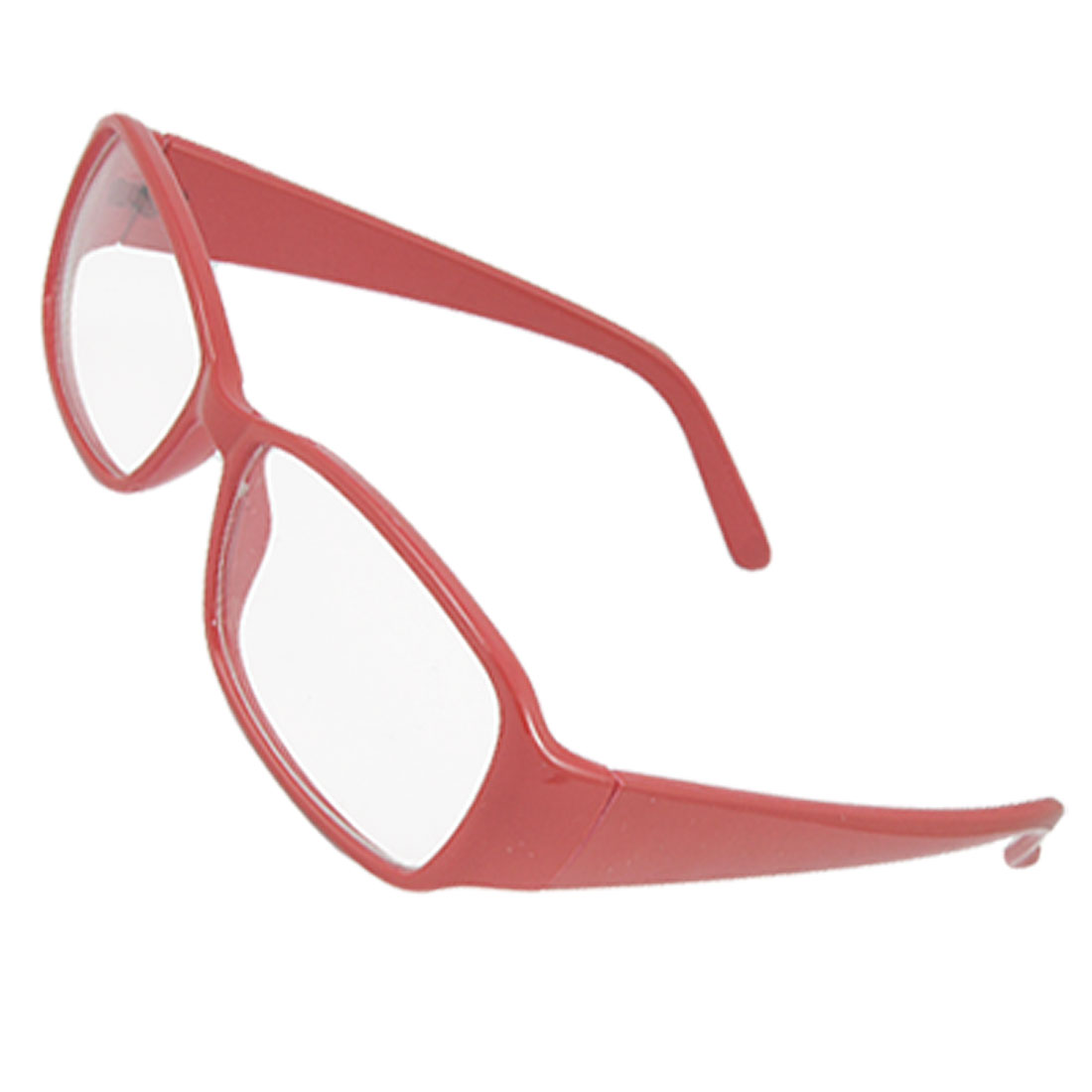 Red Plastic Broad Temple Arms Clear Lens Plain Glasses for Lady