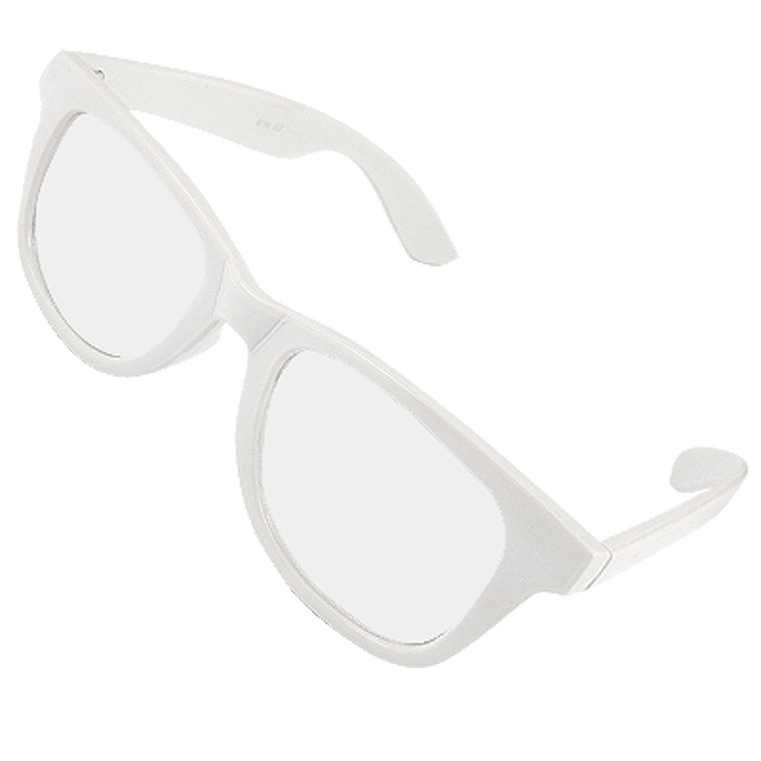 White Plastic Full Frame Clear Lens Glasses for Lady