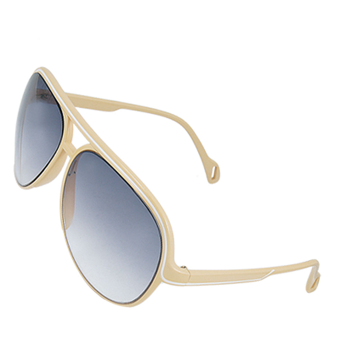 White Lined Yellow Plastic Frame Dual Bridge Sunglasses for Lady