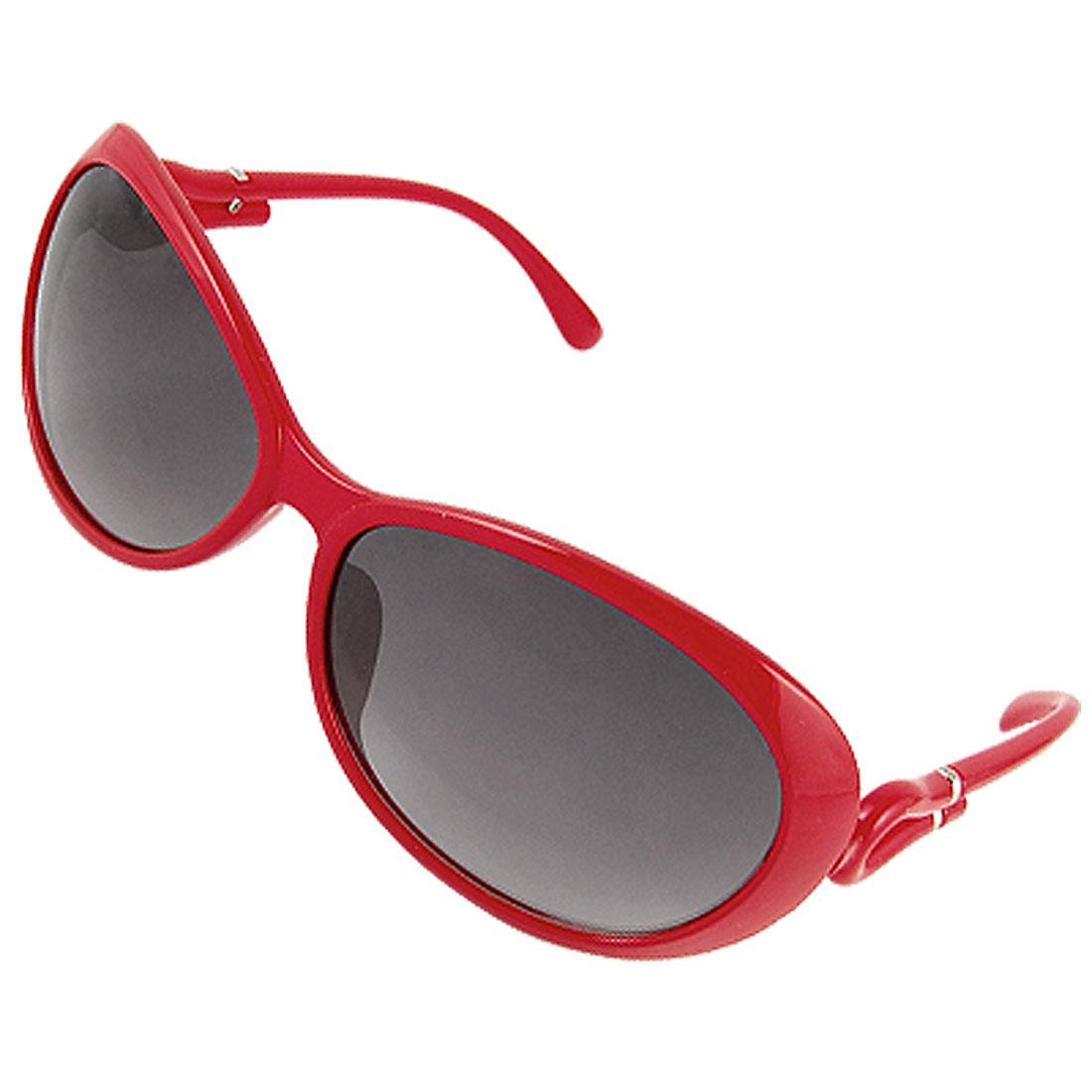 Red Plastic Full Frame Slim Arms Sunglasses for Ladies