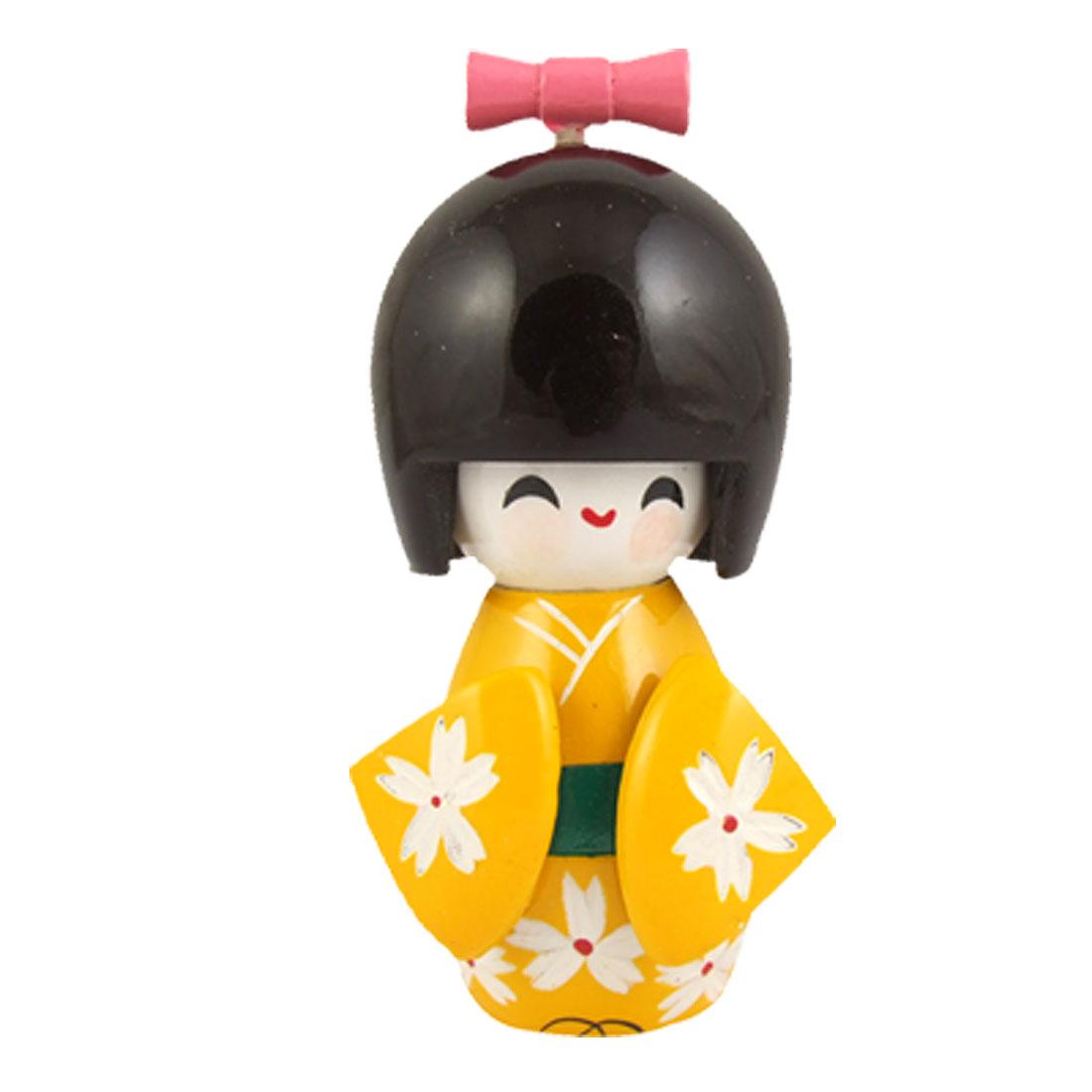 White Flowers Yellow Kimono Smiling Girl Wooden Kokeshi Doll