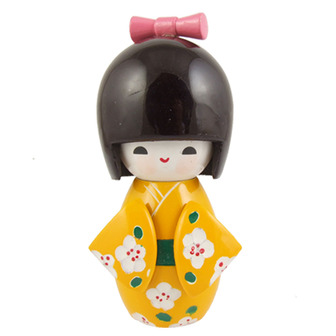 White Flowers Yellow Kimono Wooden Smiling Girl Kokeshi Doll