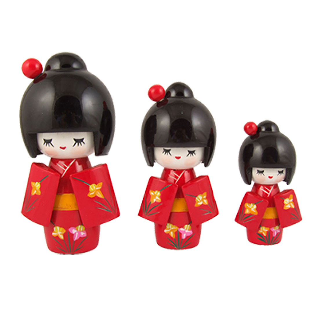 Red Kimono Girl Wooden Kokeshi Doll 3 Pcs