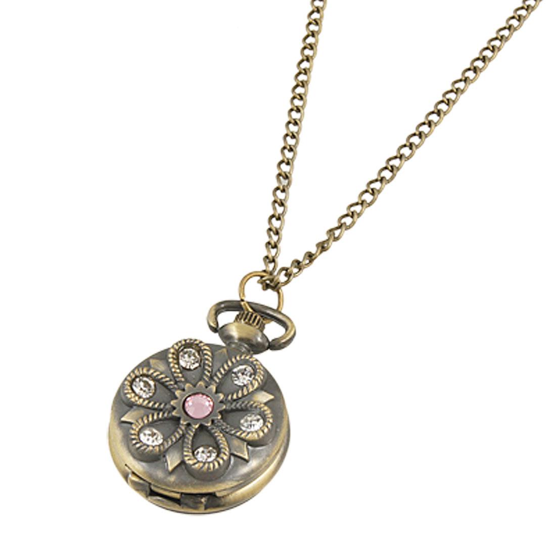 Rhinestone Detail Hunter Case Round Necklace Watch Bronze Tone