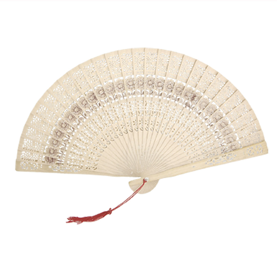 Folding Wooden Carved Sunflower Print Fragrant Hand Fan