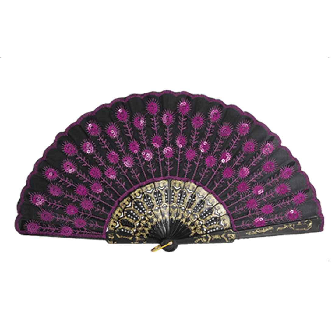 Paillette Accent Organza Cover Plastic Ribs Dance Foldable Hand Fan