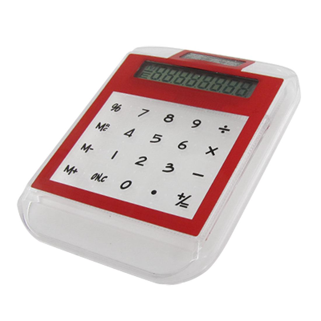 Portable Flat Touch Sensor Red Clear Plastic Calculator