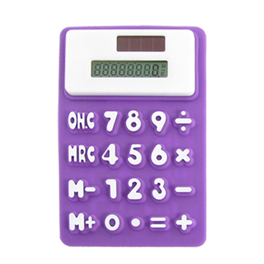 Purple White Silicone Magnetic Fridge Sticker 8 Digits Calculator