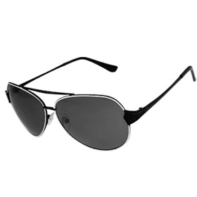 Woman Men Dark Lens Metal Dual Bridge Sunglasses Black White