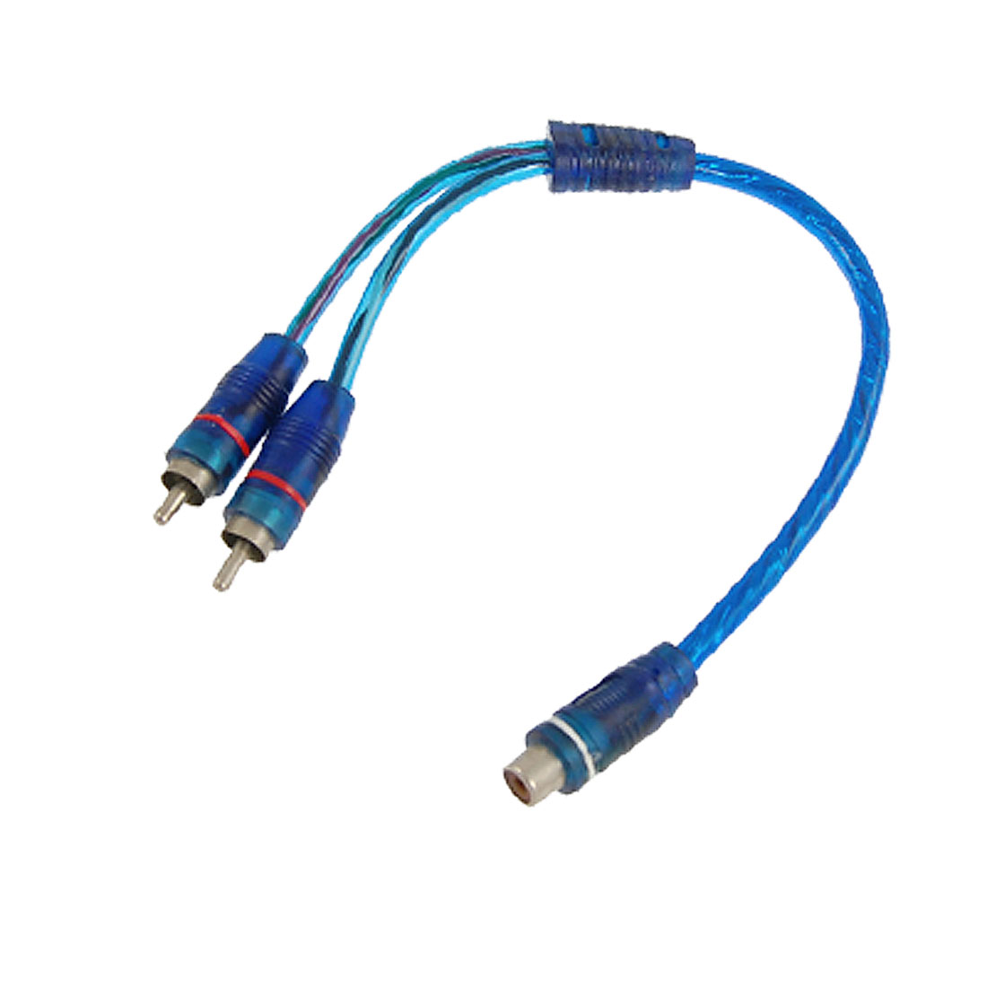 "11.8"" Long Female RCA to 2 Male Adapter Audio Cable Clear Blue"