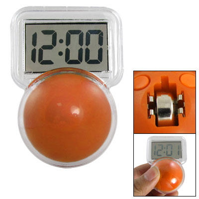 Orange Clear Plastic Ping-pong Shape Tumbler Digits Display Clock