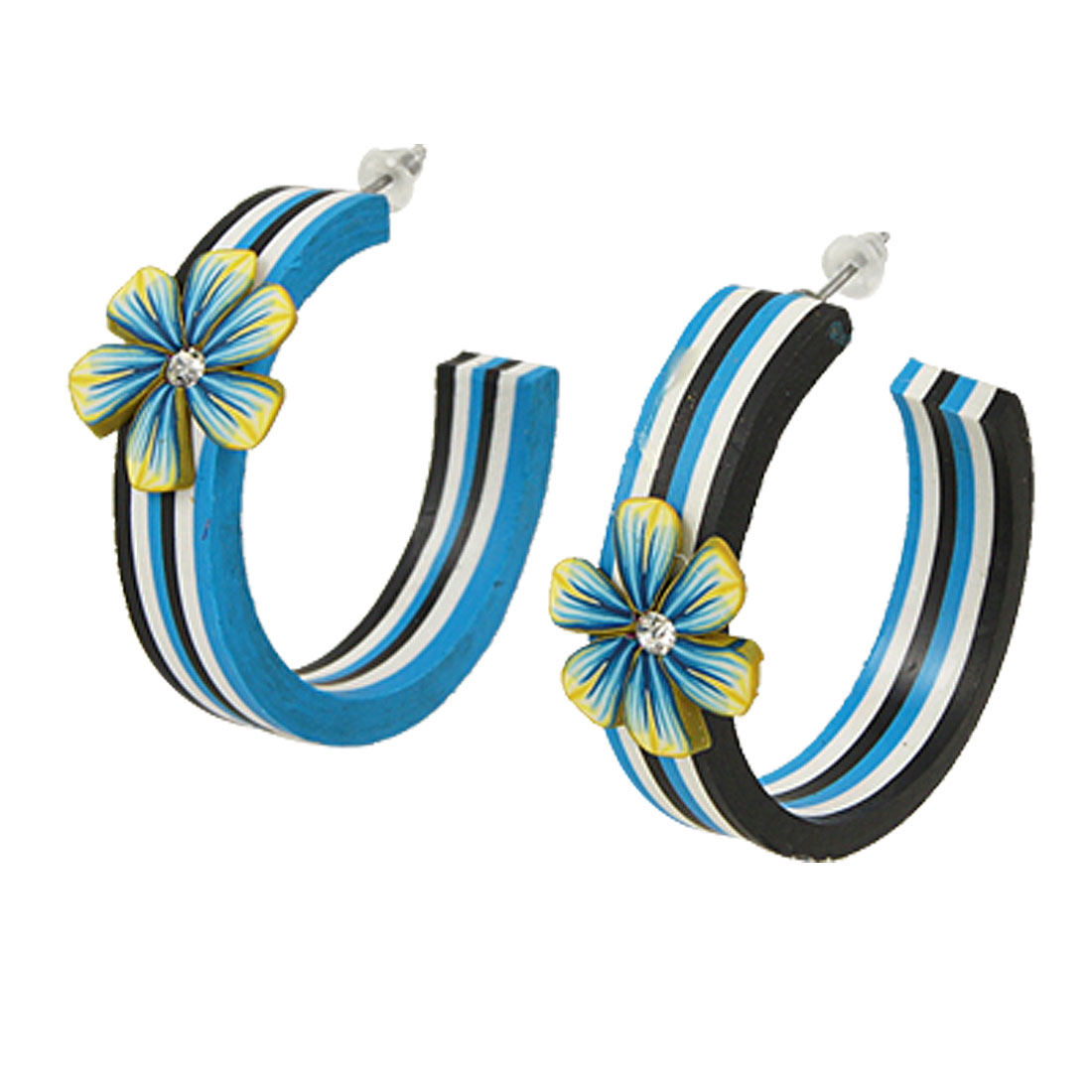 Pair Blue Black White Stripes Polymer Clay Hoop Stud Earrings for Lady