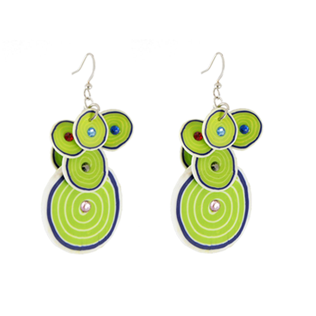 Layered Tree Ring Striped Green Fimo Craft Disc Drop Ear Hook Earrings