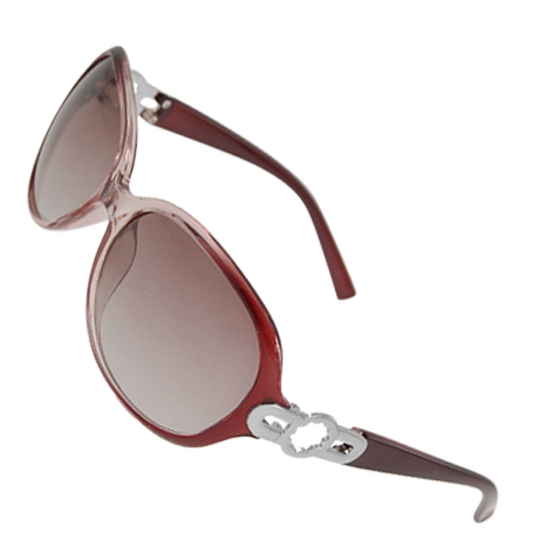 Lady Burgundy Clear Plastic Arms Rimmed Colored Lens Sunglasses