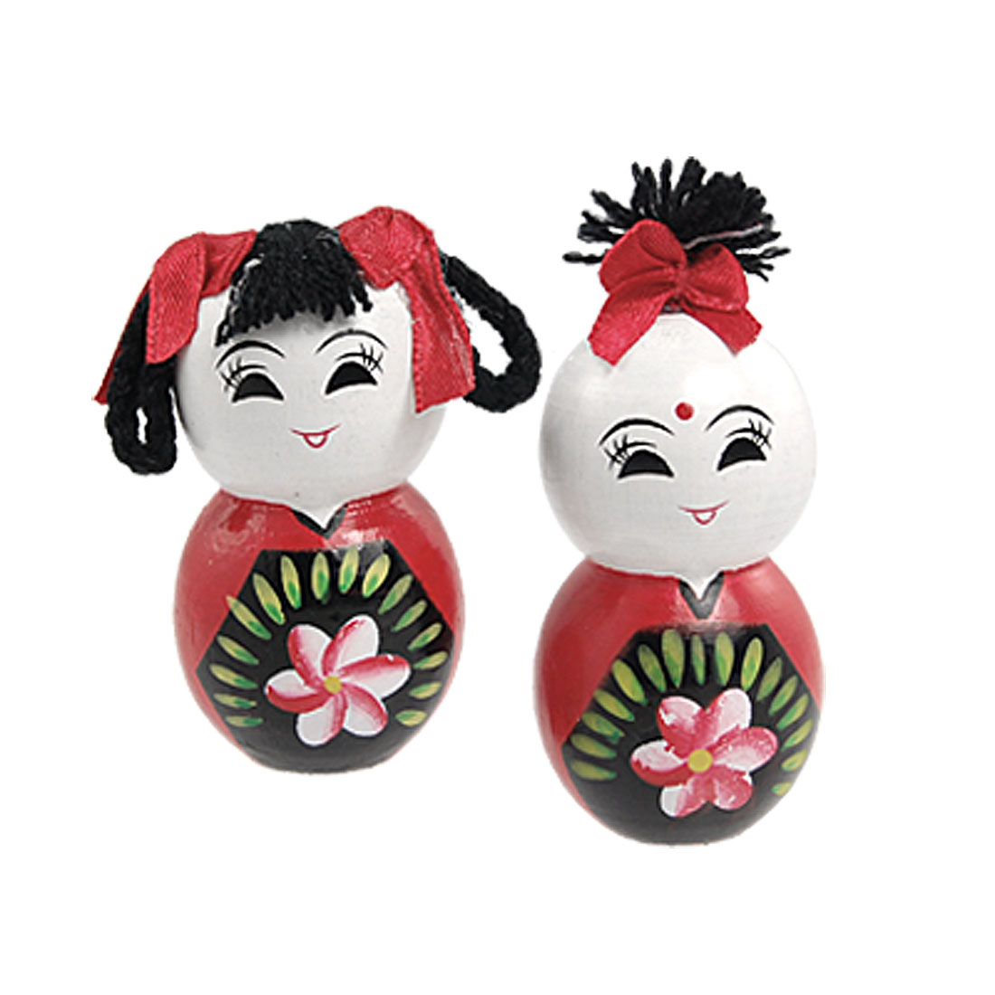 Chinese Fuwa Traditional Wooden Handicraft Smiling Couples Doll