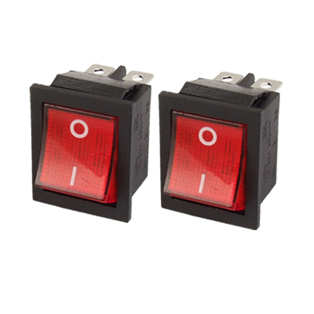 AC 250V 16A 125V 20A Red Light 6 Pin DPDT On/On 2 Position Snap in Boat Rocker Switch 2 Pcs