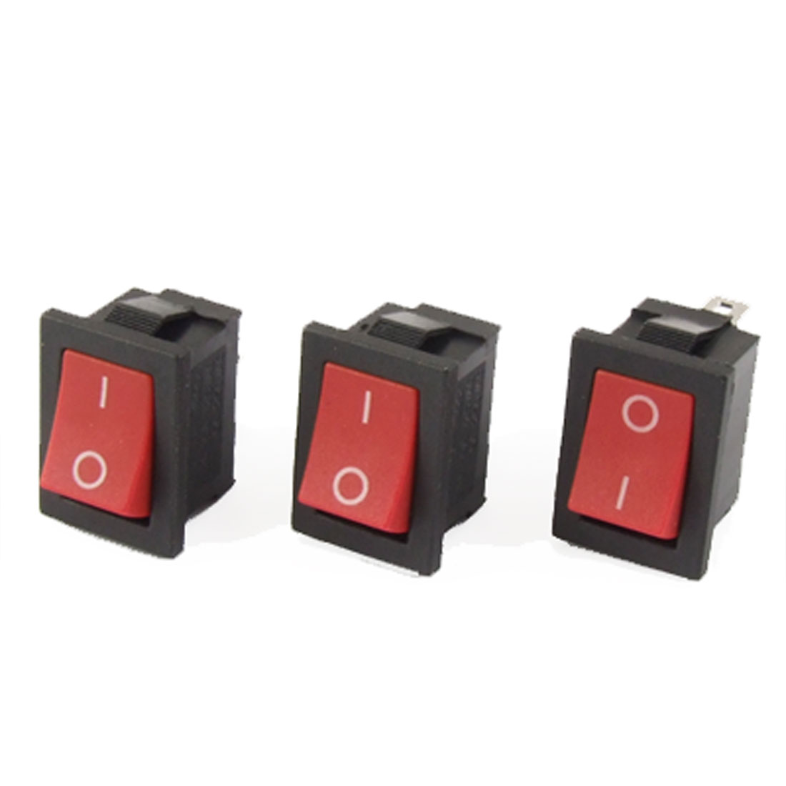 3pcs AC 6A/250V 10A/125V ON/OFF SPST 2 Pole Snap-in Boat Rocker Switch Red Button