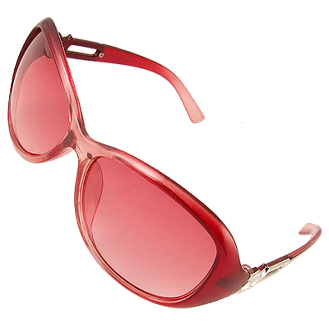Plastic Full Frame Gradient Red Lens Sunglasses for Lady