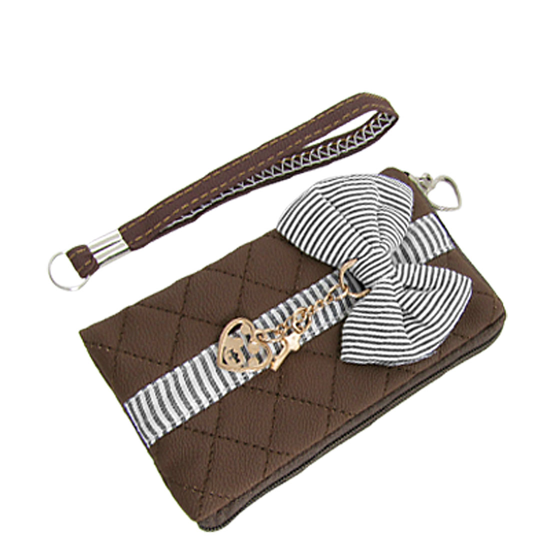 Coffee Faux Leather Zipper Purse Phone MP3 Pouch Holder