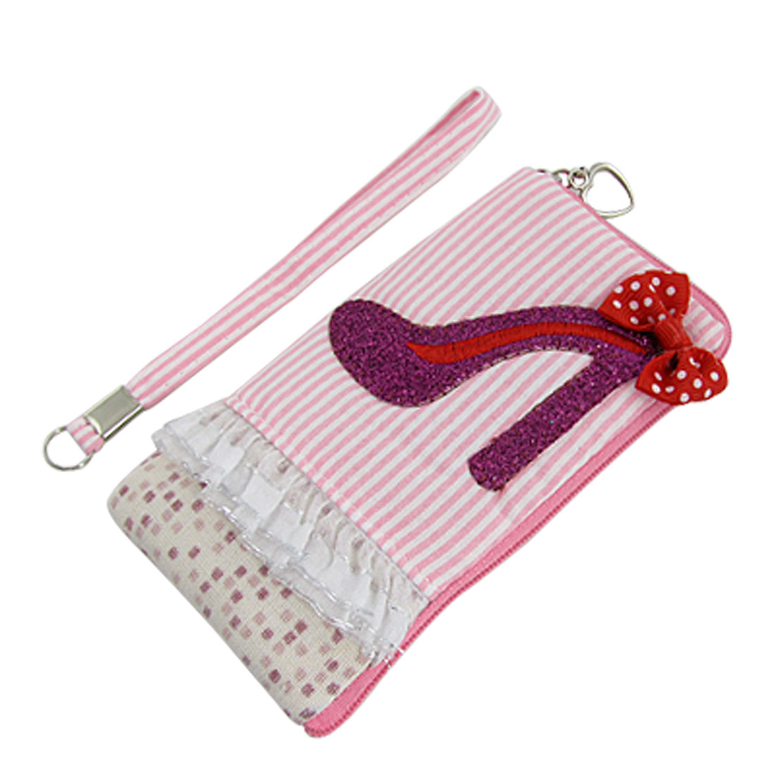 Heart Zip L Shape Pink White Stripe Cell Phone MP3 Pouch Holder