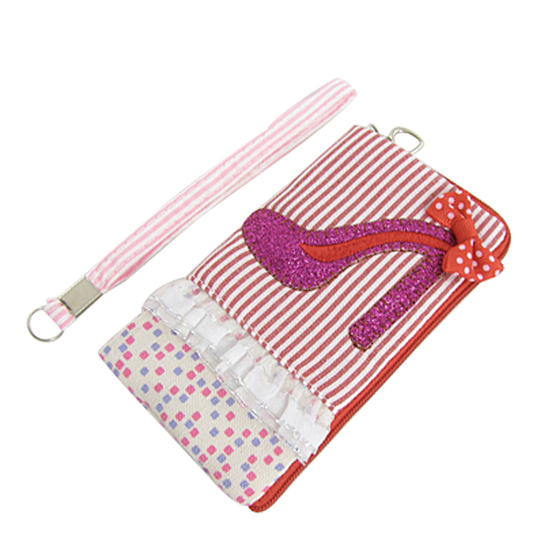 Red White Stripe Floral Lining Zipper Phone Pouch Bag