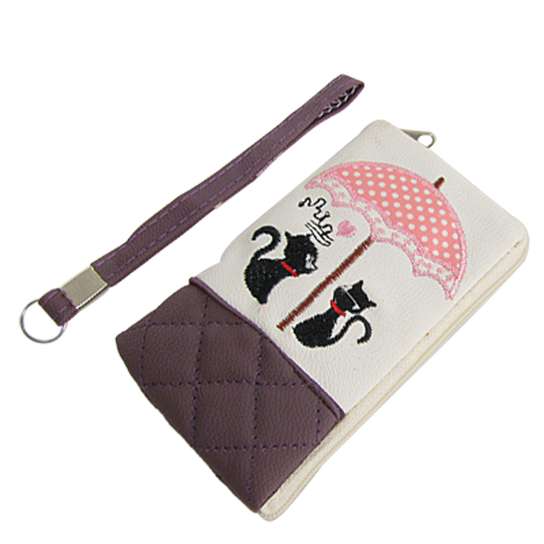 Cell Phone MP4 Hand Strap Zipper White Dark Purple Faux Leather Holder